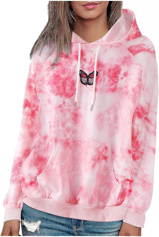 Women Tie Dye Hoodies Sweatshirt Oversized Long Sleeve Shirts for Women Girl Casual Sweaters Coat Outwear