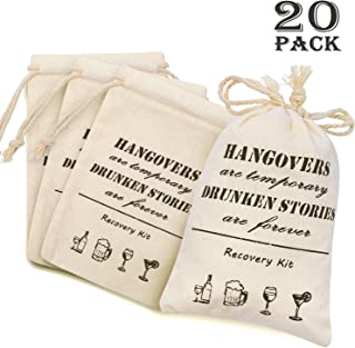 Whaline Bachelorette Hangover Kit Bags 20 Pcs Cotton Recovery Kit Bags Muslin Drawstring Bag for Bridal Shower Wedding Party Gift Decoration(4