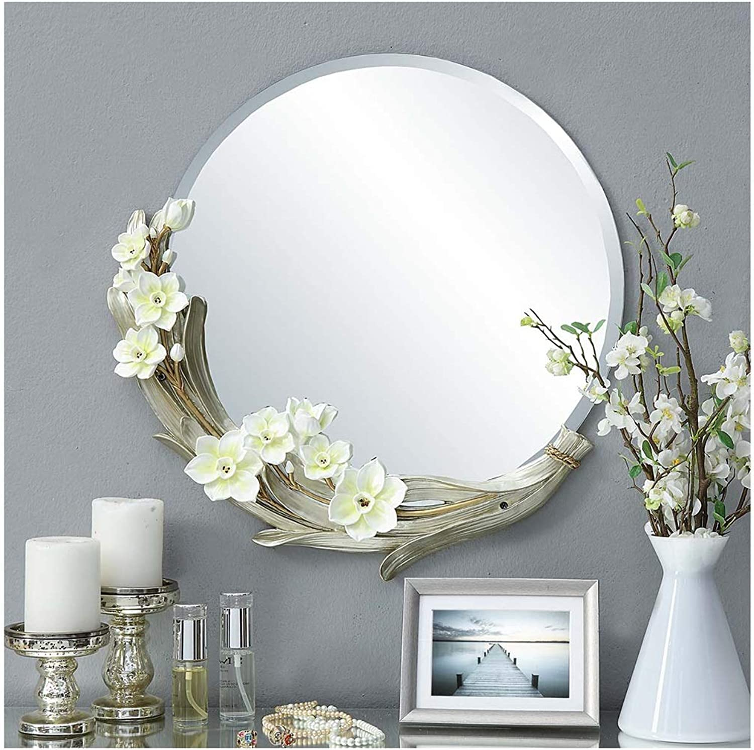 YYF Garden Bathroom wash Wall Hanging Round Mirror Flower Diameter 56cm (22 inches) (color   Green)