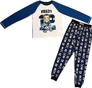 Tom Brady #12 Long Sleeve Varsity Style TOP with Soft Flannel Logo Tom Brady FACE and #12 Blue