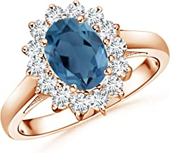 Princess Diana Inspired London Blue Topaz Ring with Halo (8x6mm London Blue Topaz)