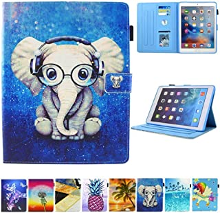 JZCreater Case for iPad Pro 9.7 2016- Kickstand Flip Wallet Case with Auto Sleep/Wake Leatherette Protective Case Cover, Elephant