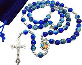 Blue Glass Bead Rosary with Metal Crucifix & Sacred Heart Centerpiece