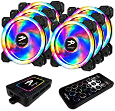 Archgon RGB Radiator Fan CPU Cooler with Bright LED Colors for PC Case, 120 mm Design Fan with Quiet Blades for PC Gaming, PWM Function (6 in 1, 366 Lighting Mode)