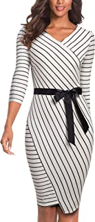 HOMEYEE Women's V-Neck Stripes Business Party Bodycon Dress B548