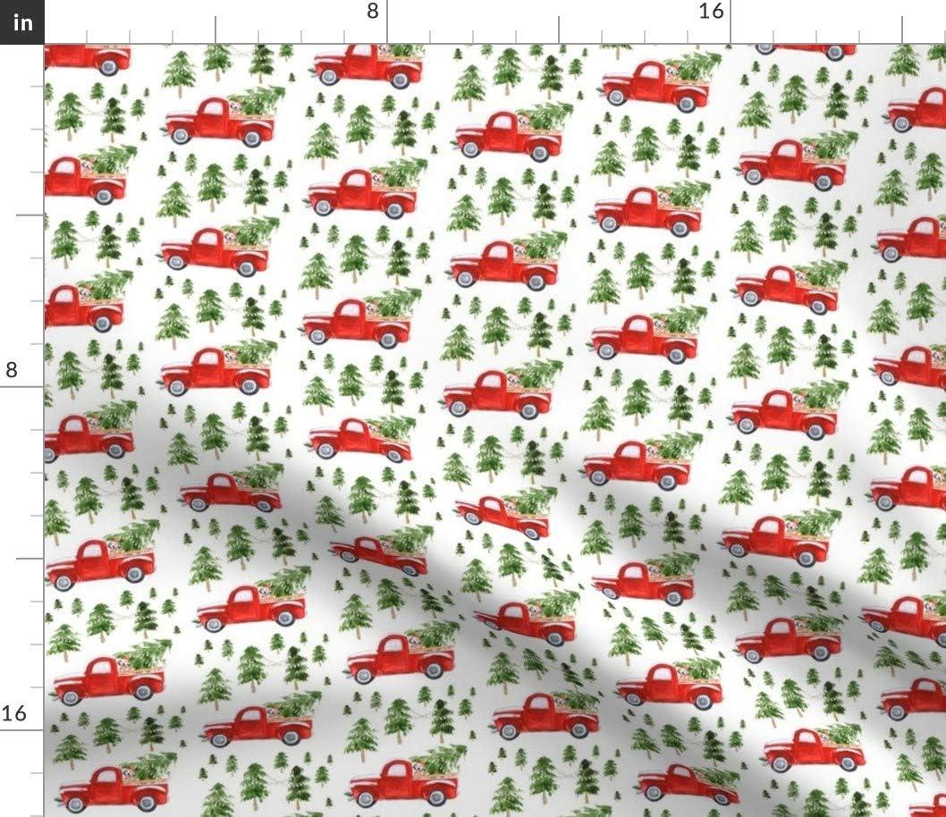 完全送料無料 Spoonflower Fabric - Best Friend Christmas Fa Truck SALENEW大人気 Dog Red Baby