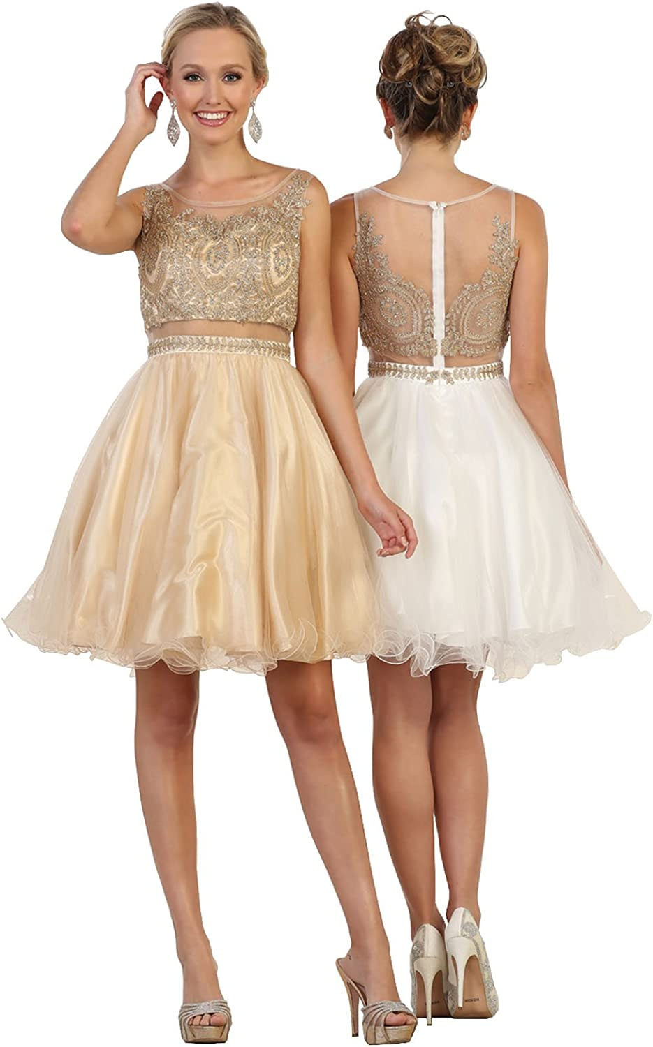 May Queen Formal Dress Shops Inc FDS1462 Two Piece Semi Formal Short Dress