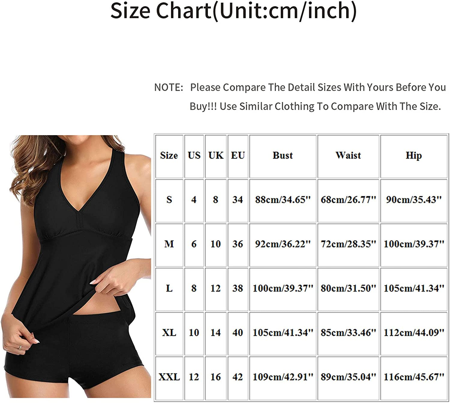 Two Piece Swimsuits Tankini for Women Plus Size Swimsuit Tummy Control Top with Shorts Black/Printed Bathing Suit