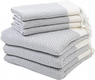 Set of 6 Turkish Cotton Bath Beach Spa Sauna Hammam Yoga Gym Hamam Hand Towel Fouta Peshtemal Pestemal Blanket Set