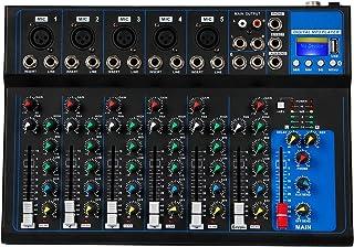 Depusheng 7 Channel USB Digital Karaoke Mixer Bluetooth Live Studio Audio Mixing Console Microphone Sound Card for DJ Wedding Party KTV