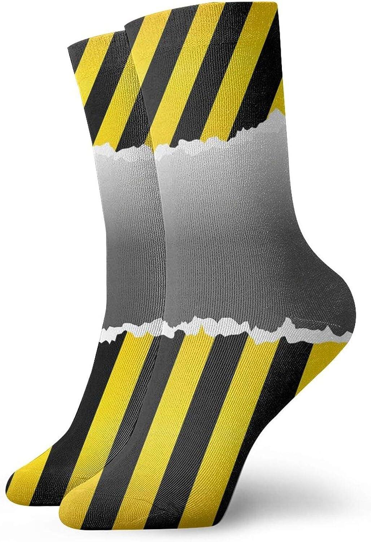 Compression High Socks-Ripped Sign Working Site Danger Hazard Progress Caution Urban Pattern Best for Running,Athletic,Hiking,Travel,Flight