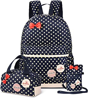 Vbiger 3 in 1 School Bag Waterproof Nylon Shoulder Daypack Polka Dot Bookbags Backpacks Cell Phone Messenger Bags Pencil Case (Dark Blue)