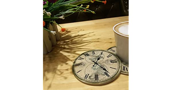 4 pcs Retro map clock shape Wood Coasters Cup Drinks Holder Non-slip heat proof coffee drink Coasters Tea Cup Mat Pads Dulce Cocina
