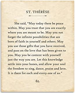 St Therese - May Today There Be Peace - 11x14 Unframed Typography Book Page Print - Great Inspirational and Motivational Gift and Decor for Home and Office Under $15