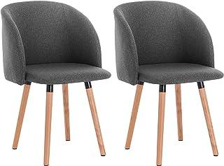 WOLTU 2X Sillas de Comedor Nordicas Estilo Vintage Dining Chairs Juego de 2 Sillas de Cocina Tulip Sillas Tapizadas en Lino Silla de Conferencia Silla de Escritorio Gris Oscuro BH120dgr-2
