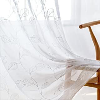 White Sheer Curtains for Living Room Leaf Tile Embroidered Window Curtain Rod Pocket Leaf Geometric Embroidery Drapes Bedroom Kitchen 84 inch 2 Panels