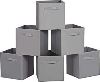 MaidMAX Cloth Storage Cubes Bins Baskets Containers with Dual Handles for Home Closet Nursery Drawers Organizers, Flodable, Dark Gray, Set of 6