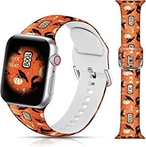 Halloween Design Sport Bands Compatible with Apple Watch 38mm 40mm 42mm 44mm for Women Men Girls, LAACO Black Halloween Cat Silicone Wristbands Replacment Strap for iWatch SE/Series 6/5/4/3/2/1