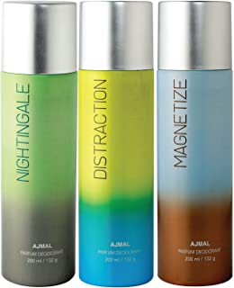 Ajmal Nightingale & Distraction & Magnetize Deodorant Combo Pack of 3 Deodorants 200ml each (Total 600ML) for Men & Women ...