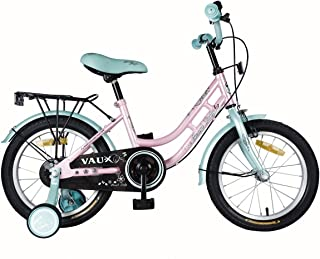 """Vaux Bicycle for Kids- Vaux Pearl Lady 16T Kids Bicycle for Girls. Ideal for Cyclist with Height (3'5"""" – 4') – Green/Pink."""