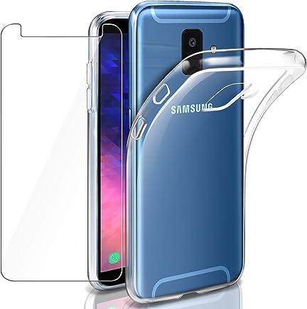 """Leathlux Custodia Galaxy A6 2018 Cover Trasparente + Pellicola Protettiva in Vetro Temperato, Morbido Silicone Custodie Protettivo TPU Gel Sottile Cover per Samsung Galaxy A6 (2018) 5.6"""""""