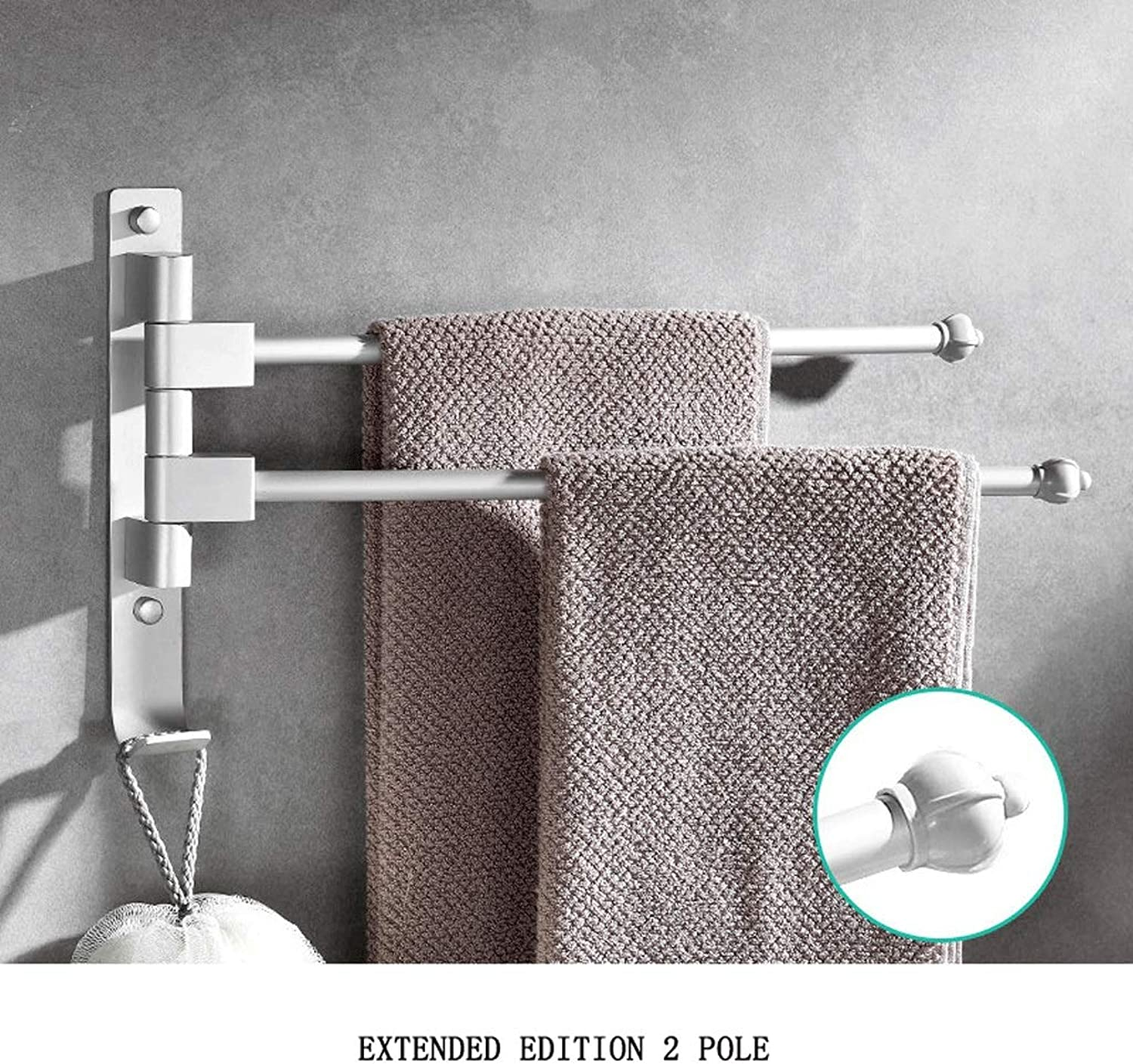 Bathroom Self-Adhesive Towel Rack Aviation Grade Aluminum Multi-Function redating Towel Bar Thickening Nail Hole (color   Extended Version 2 Pole)