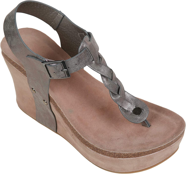 Syktkmx Womens Wedge Platform Thong T Strap Braided Cork Ankle Strap Mid Heel Sandals (8 B(M) US, a-Grey)