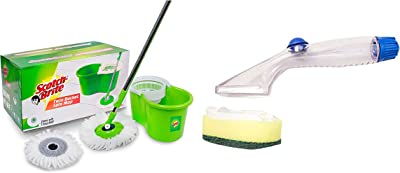 Scotch-Brite 2-in-1 Bucket Spin Mop (Green, 2 Refills) & Scotch Brite Soap Dispensing Dishwand Combo