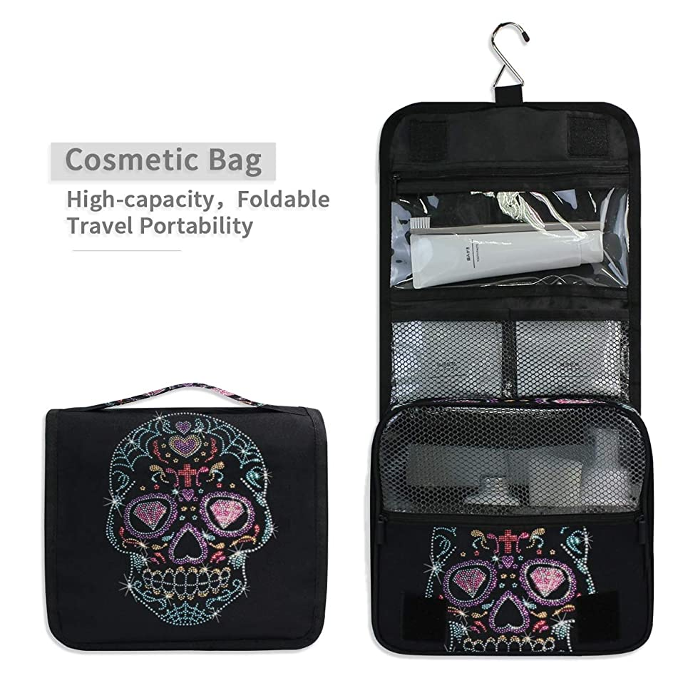 Toiletry Organizer Wash Bag,Rhinestone Studs Sugar Skull Portable travel bathroom shower bags Deluxe Large Capacity Waterproof Pouch Kit with Hook for Men and Woman