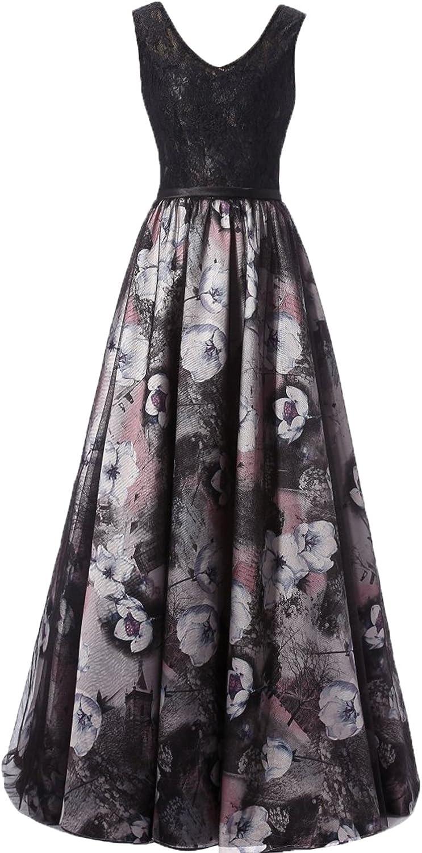 Epinkbridal Women's V Neck Lace with Bodice Floral Printed Vintage Long Prom Dress Sleeveless Open Back Evening Formal Dress