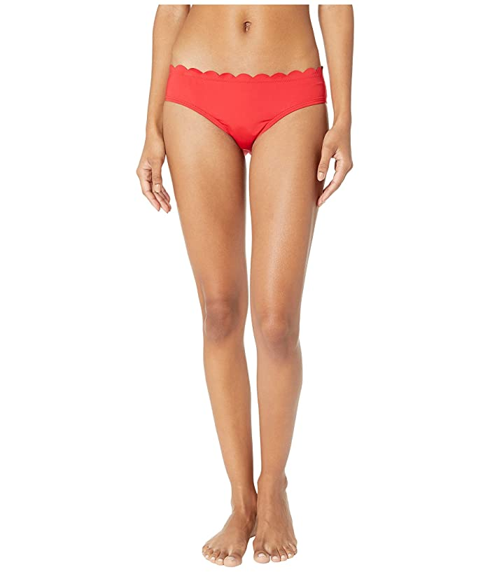 Kate Spade New York Core Solids #79 Scalloped Hipster Bikini Bottom (Rosa Red) Women