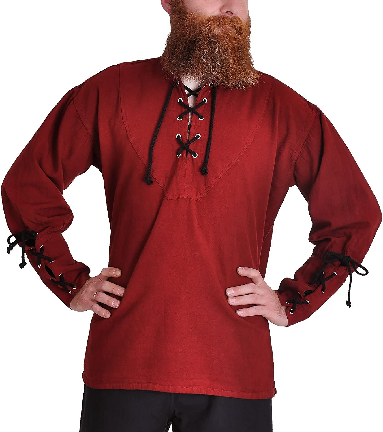 ImexModen Gothic Medieval Red Pirate Shirt with StandUp Collar 1605