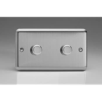 White Varilight Double Dimmer 2 Gang 2 Way Push On//Off Rotary Light Switch