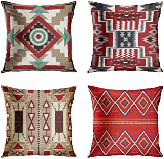 ArtSocket Set of 4 Throw Pillow Covers Southwest Southwestern Inspired Earth Tones Indian Native American Earthtones Tribal Navajo Decorative Pillow Cases Home Decor Square 18x18 Inches Pillowcases