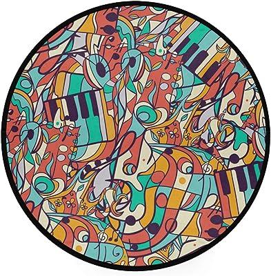 Music Abstract Pattern Area Rug Round Non-Slip Carpet Living Room Bedroom Bath Floor Mat Home Decor (3 Feet Round)