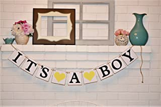 Its a Boy Chipboard Baby Shower Banner, Customizable It's a Boy Chipboard Banner, Baby Shower Decorations, Yellow