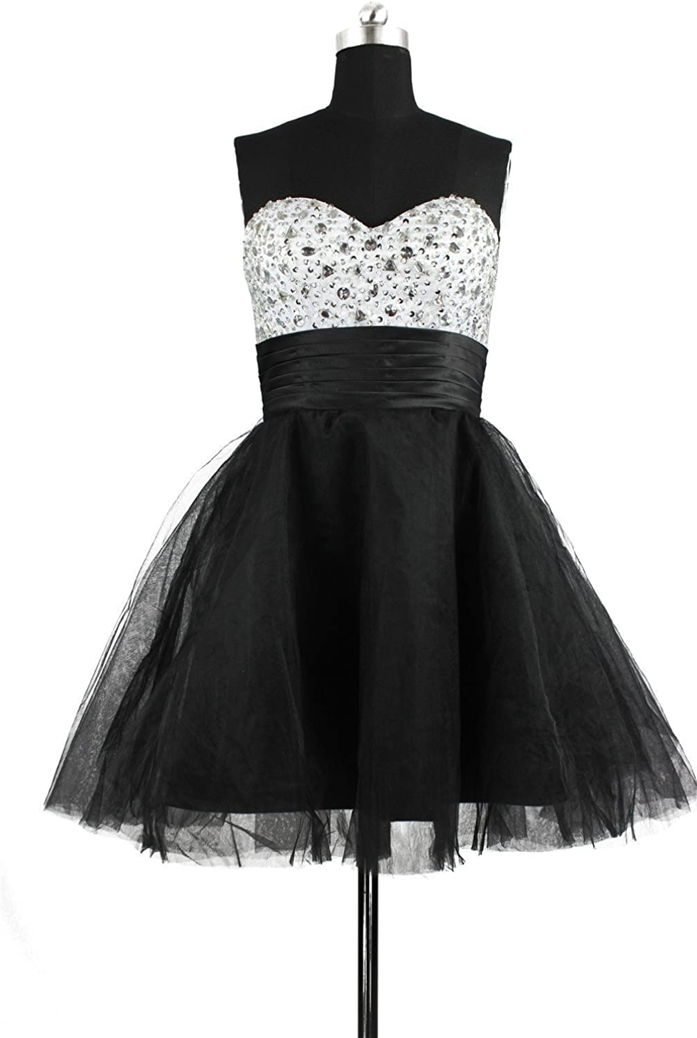 CharmingBridal Beaded A Line Black Prom Dress Short Party Homecoming Dress