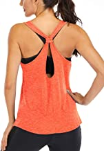 Fihapyli Women's Workout Tops Fitness Sports Racerback Tank Tops Backless Yoga Tops Open Back Running Tops Muscle Tank Tops