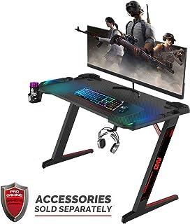 ONV Gaming Desk,Gaming Computer desks,Premium Home Office PC Table for Gamer Pro, Black Gaming Desks Workstation with RGB LED Lights,Cup Holder, Headphone Hook,and Smart Cable Management System