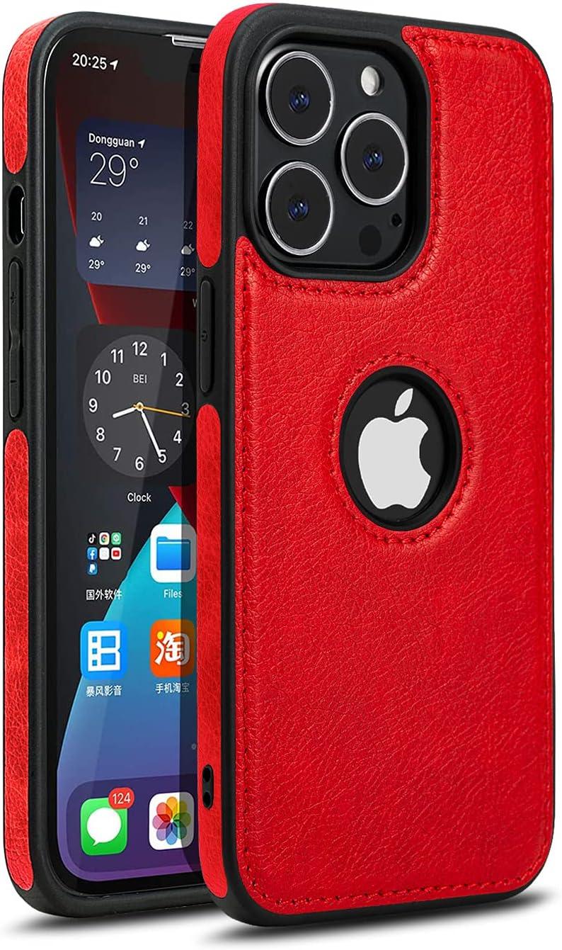 "Razstorm Unique Design Luxury Leather Business Phone Case for iPhone 13 Pro Anti-Slip Scratch Resistant Ultra Slim Protective Case (2021,6.1"") (Red)"