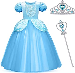 MYZLS Cinderella Princess Costume Girls Snow White Fancy Party Dress Halloween Dress Up Outfit 3-10 Years