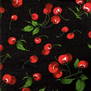 """Cherry Fruit Poly Cotton Fabric, 58/60"""" Wide, White/Black Background (Black, 5 Yards)"""