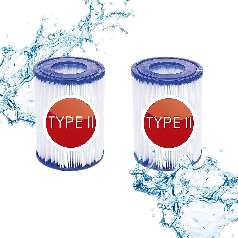 Cartuchos de filtro tipo II para Bestway 58094, filtro de piscina hinchable, cartuchos de filtro de papel de filtro, elemento de filtro tamaño II, apto para piscina familiar Bestway (2 unidades)