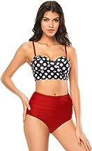 High Waisted Swimsuits for Women Ruffle Polka Dot Push Up Halter Strap Bikini Sets, Womens, Polka Dot Red & Black, Small