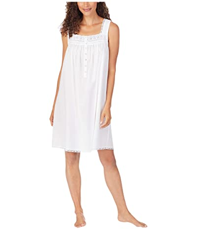 Eileen West Cotton Lawn Woven Sleeveless Short Nightgown (White) Women