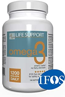 Life Support Omega 3: Enteric Coated. High Absorption. No Fishy Aftertaste. High EPA and DHA Omega 3 Essential Fatty Acids...