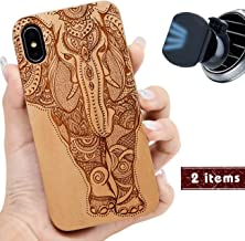 """iProductsUS Elephant Wood Phone Case Compatible with iPhone Xs, X (10) and Magnetic Mount, Engraved in USA, Built-in Metal Plate, TPU Protective Shockproof Cover (5.8"""")"""