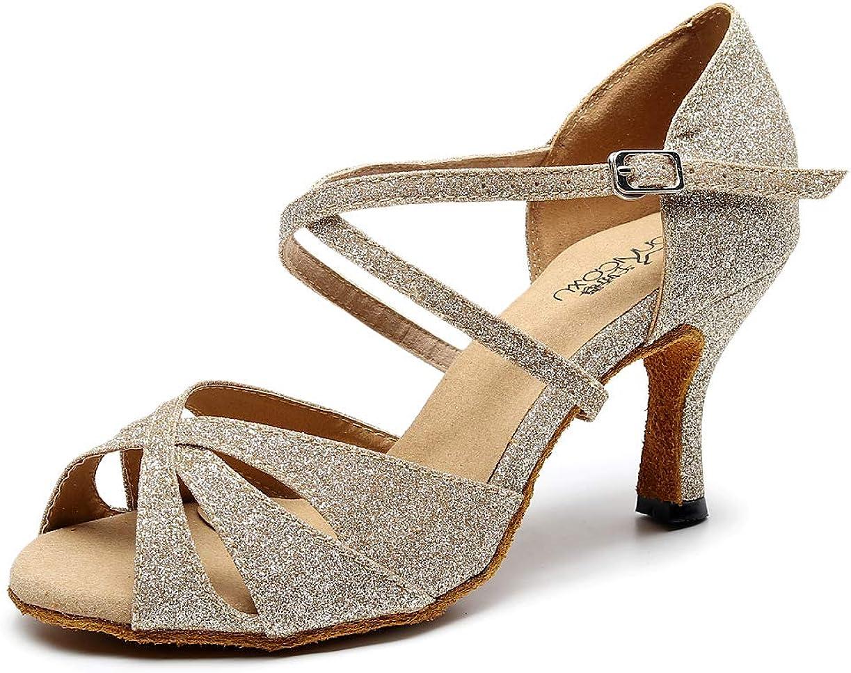 Goettin Women's Glitter Latin Ballroom Dance Shoes Cross-Band Da