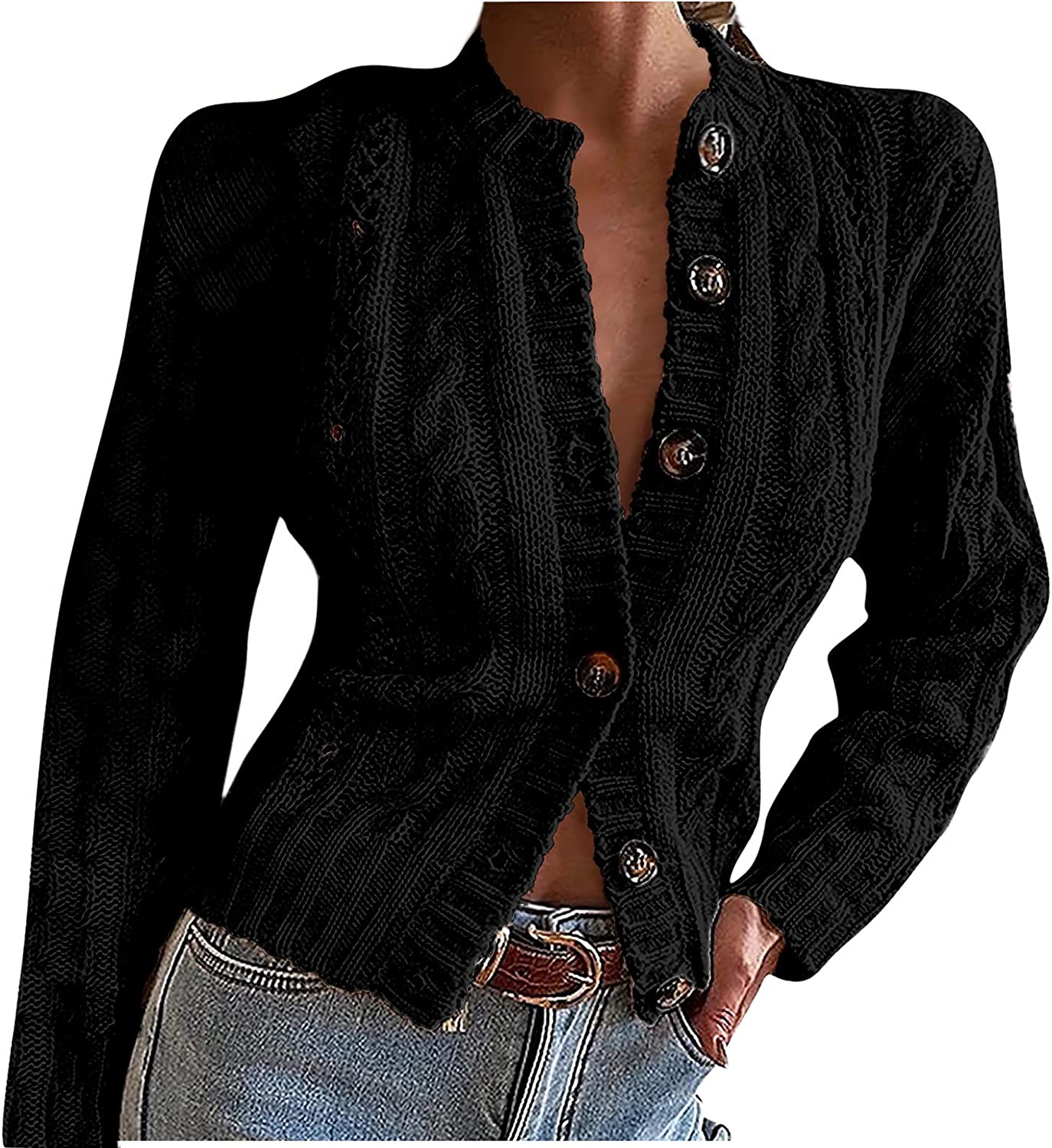 Women?s Long Sleeve Cardigan Open Front Solid Buttons Cable Knit Pocket Cardigan Sweater