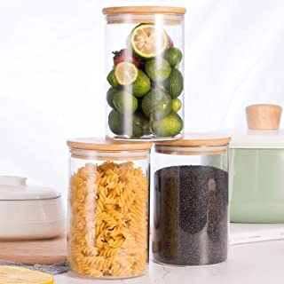Annfly Lot de 3 bocaux en verre avec couvercles en bois pour le stockage des aliments et l'organisation de la cuisine, fab...